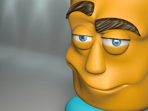 cartoon figure sad look